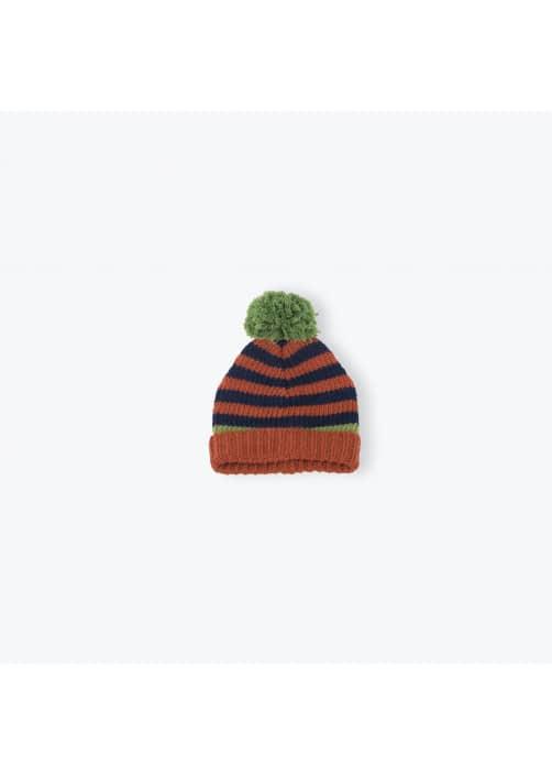 Bonnet tricoté à rayures tricolores