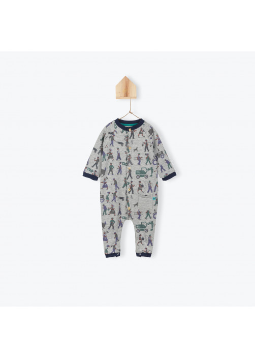 Bricoleurs pattern fleece baby's jumpsuit