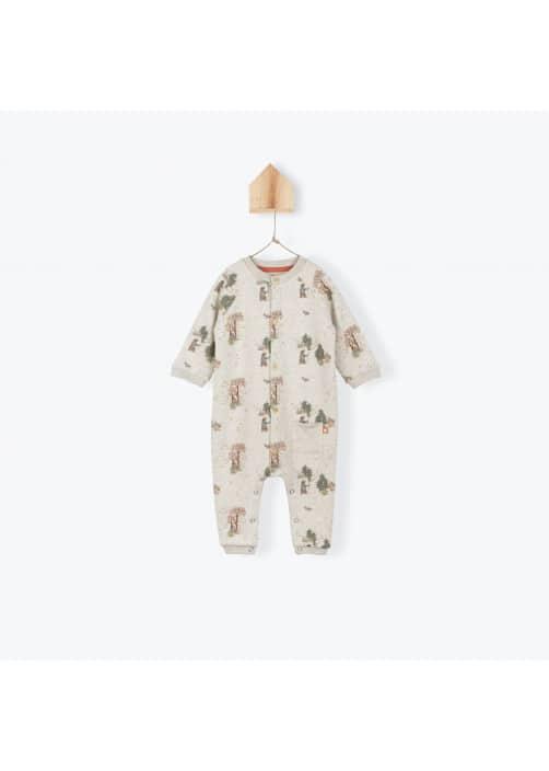 Forest pattern fleece baby's jumpsuit
