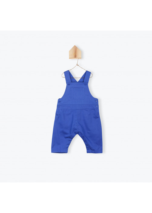 Salopette bébé en twill bleu cobalt