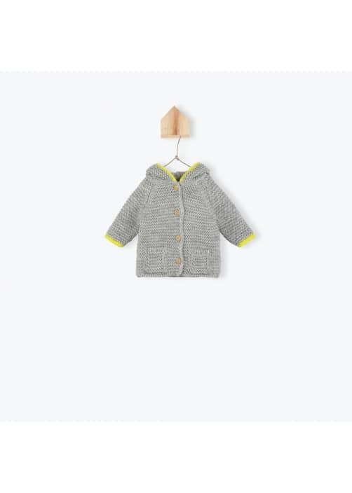 Manteau bébé tricoté gris chiné