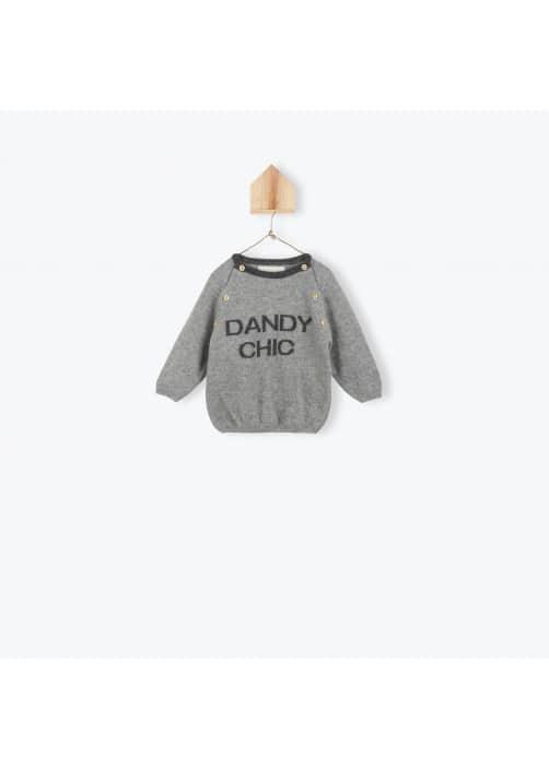 Pull bébé jacquard gris chiné Dandy chic