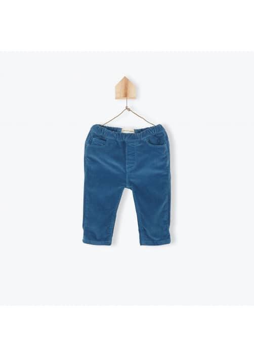 Pantalon bébé velours stretch bleu pétrole
