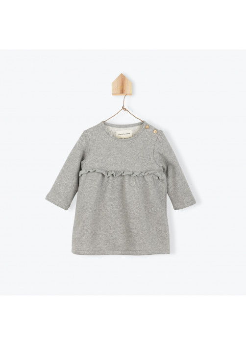 Heather grey fleece baby's dress