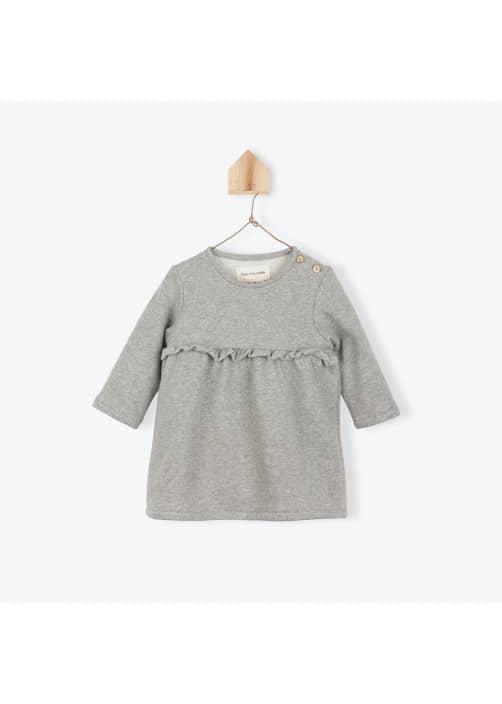 Robe bébé molleton gris chiné