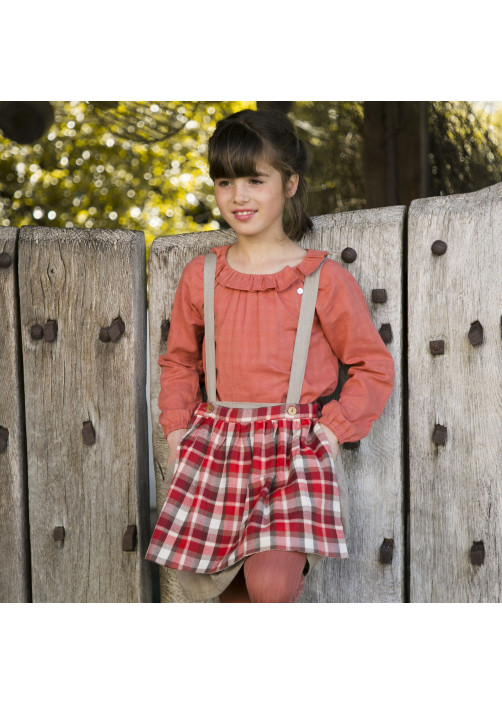 Blouse fille col pierrot tomette
