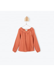 Orange girl's blouse with ruffled collar