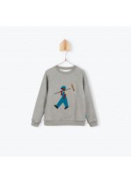Heather grey fleece boy's sweater
