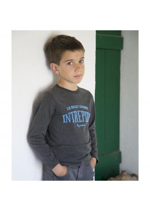 Anthracite jersey boy's T-shirt