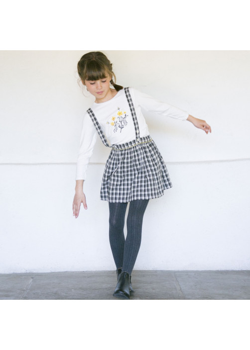 Bicolor girl's skirt with straps
