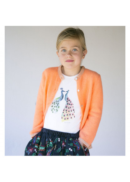 Fluo coral girl's cardigan