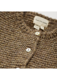 Taupe and lurex knitted girl's cardigan