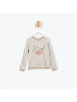 Beige fleece and lurex girl's sweater