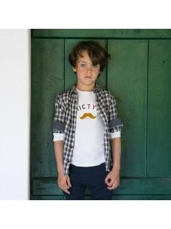 Anthracite plaid boy's shirt