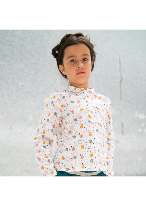 Circus print girl's blouse