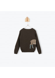 Brown knitted boy's pullover