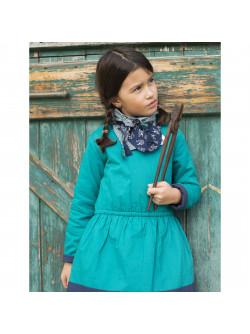 Robe bicolore ouatinée vert canard