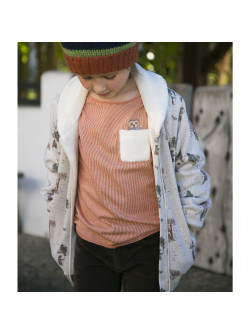 Forest pattern and sherpa girl's jacket