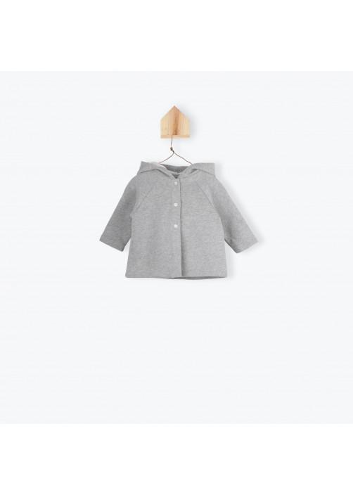 Veste bébé molleton gris chiné