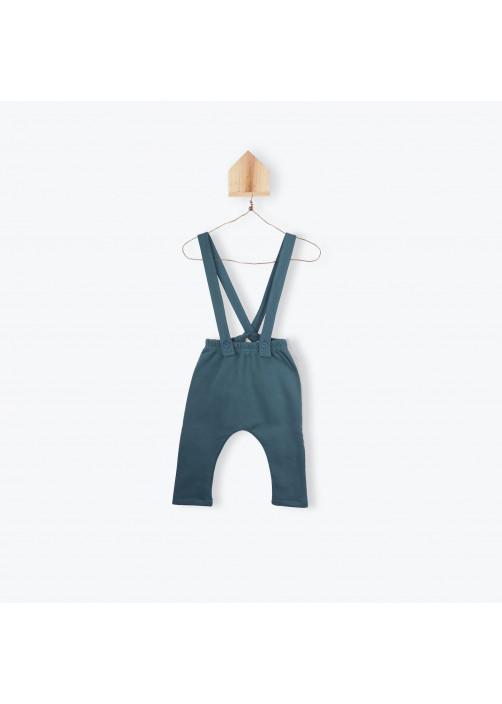 Pantalon bébé bicolore à bretelles