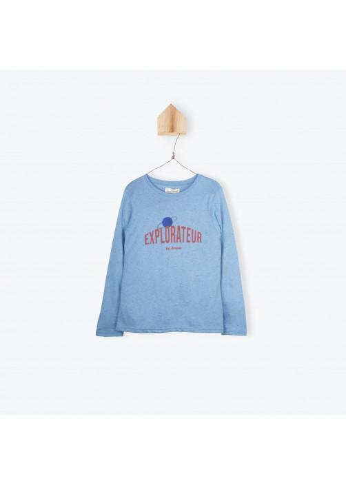 Sky blue printed boy's T-shirt