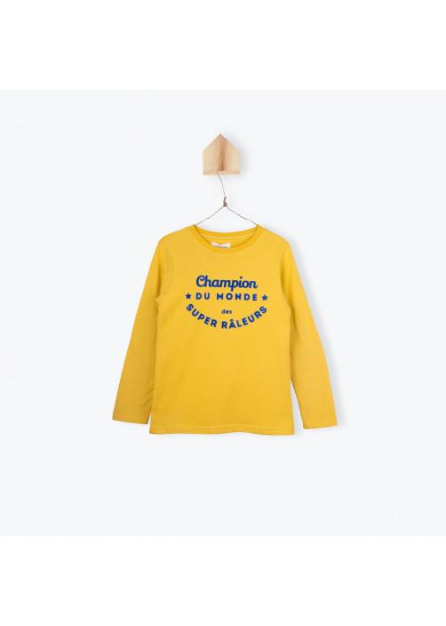 T-shirt Champion du monde jaune