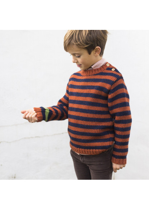 Striped knitted garter stitch pullover