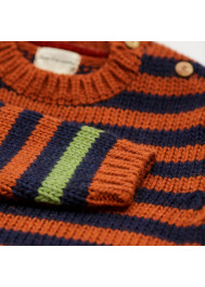 Striped knitted garter stitch pullover