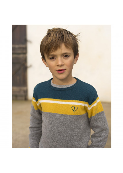 Tricolor knitted boy's pullover