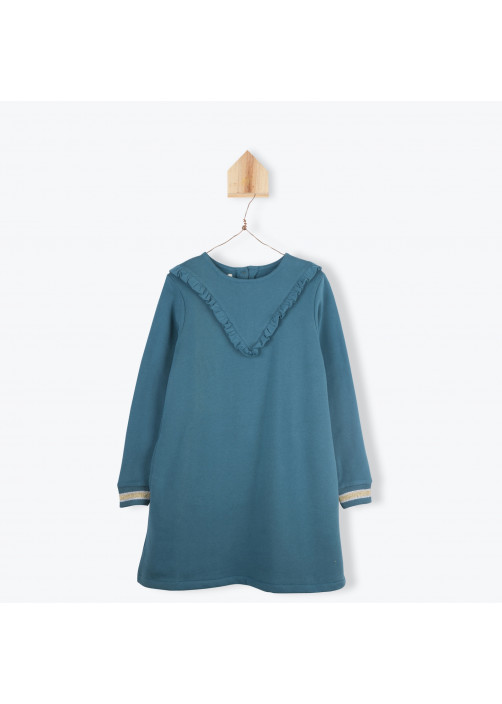 Petrol blue fleece girl's dress