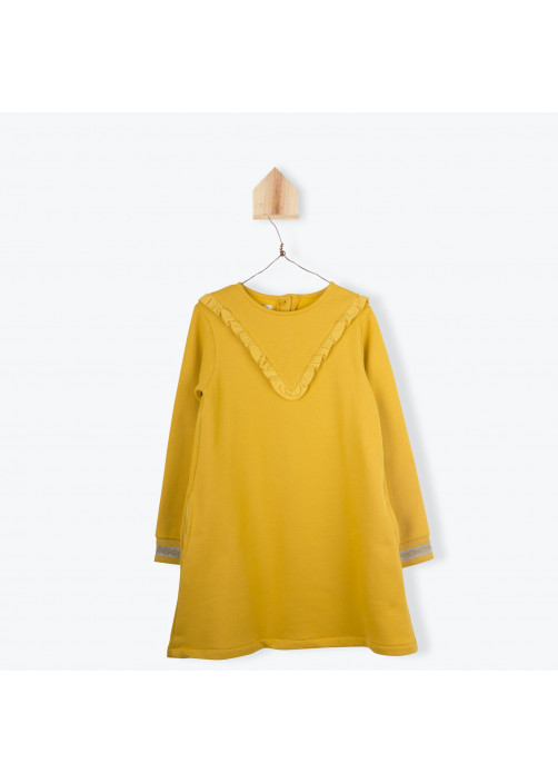 Saffron yellow fleece girl's dress