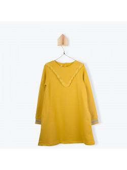Saffron yellow fleece girl's dress