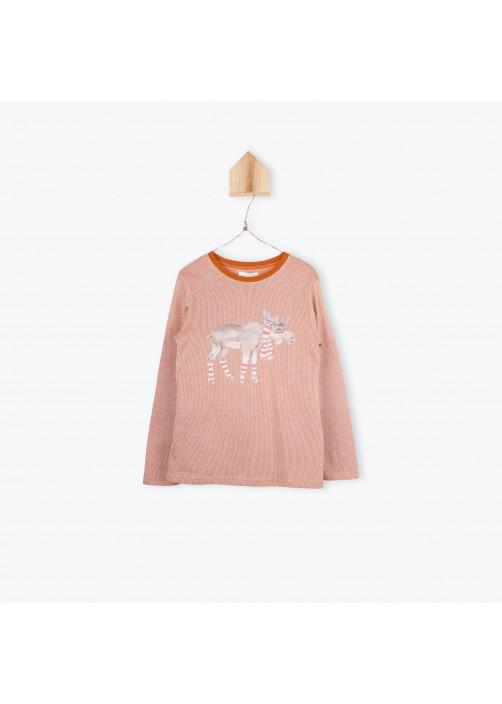 T-shirt rayé brodé Rein deer