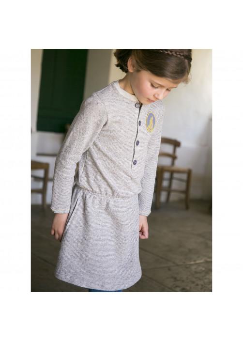 Robe molleton élastiquée gris chiné