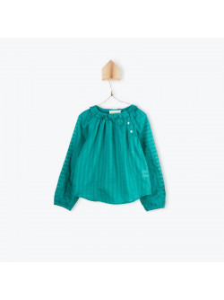 Blue girl's blouse with ruffled collar
