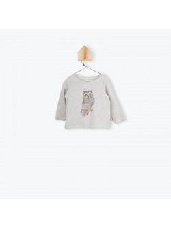 Beige printed baby girl's T-shirt