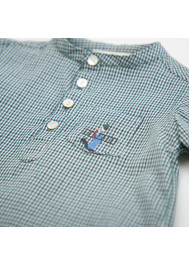 Green gingham pattern baby's shirt