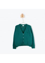 Woman's green cardigan