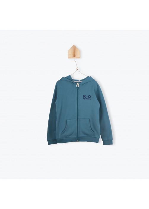 Sweatshirt zippé molleton pétrole