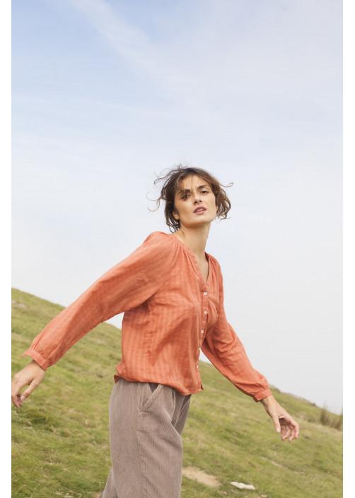 Blouse femme orange coton dobby