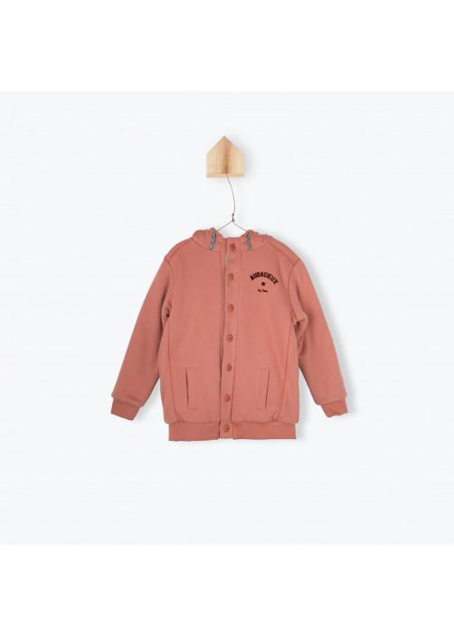 Orange and sherpa zipped sweater