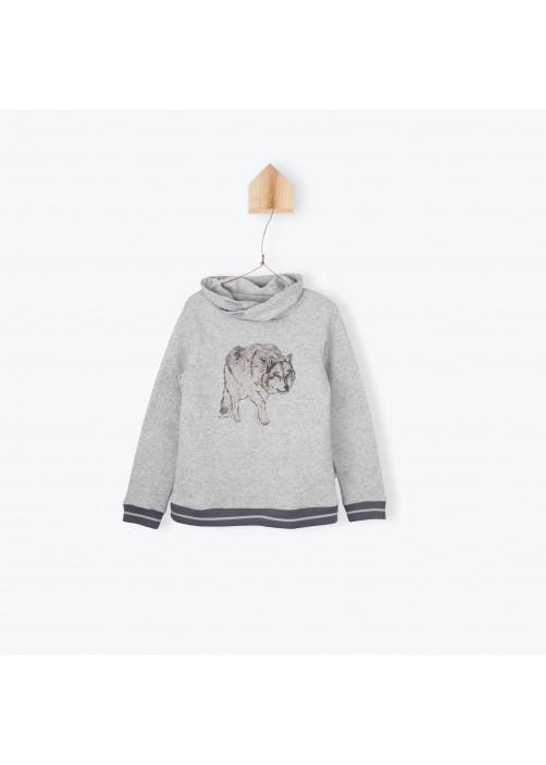 Heather grey printed sweater