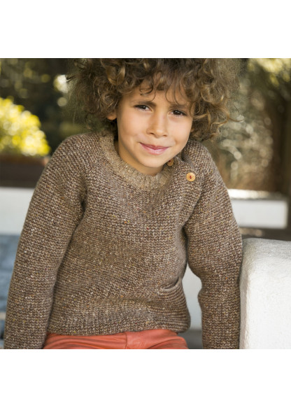Brown garter stitch children's pullover