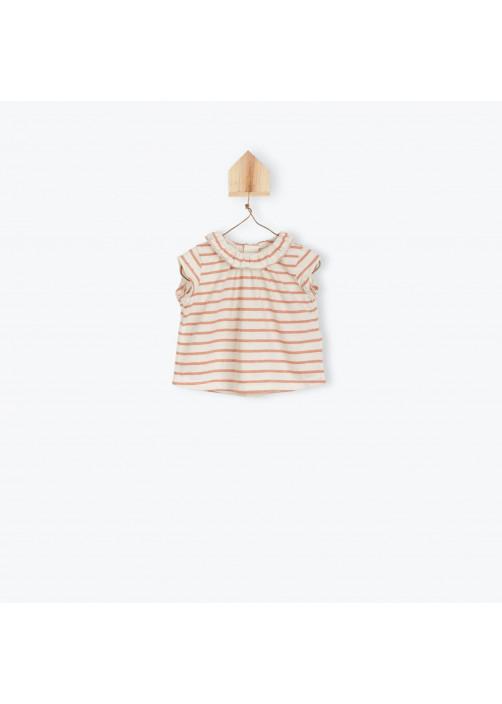 T-shirt bébé à colerette brique