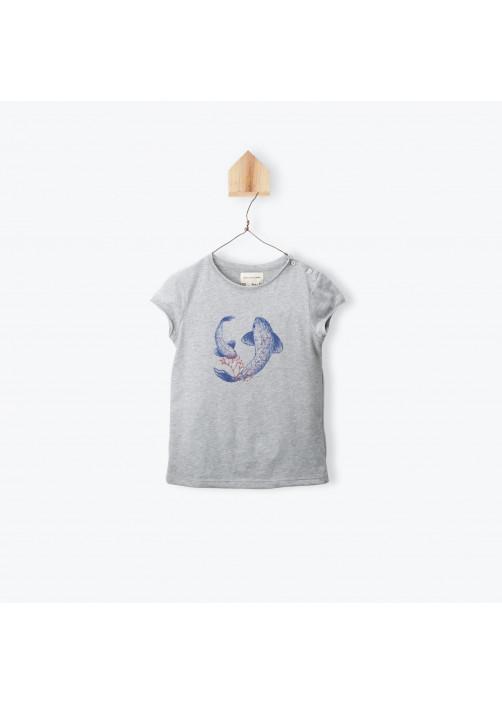 T-shirt fille gris chiné Carpes