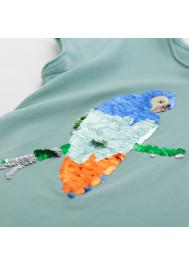 T-shirt fille vert celadon à sequins