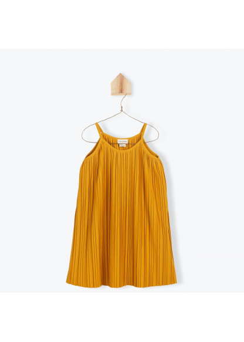 Caramel pleated jersey girl's dress