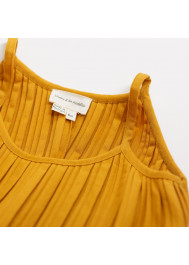 Caramel pleated jersey girl's dress