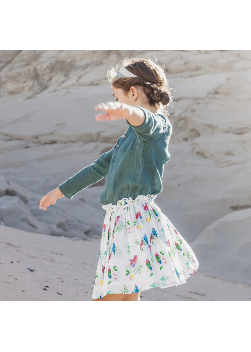Parrots printed girl's skirt