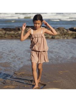 Terracota gingham girl's dress